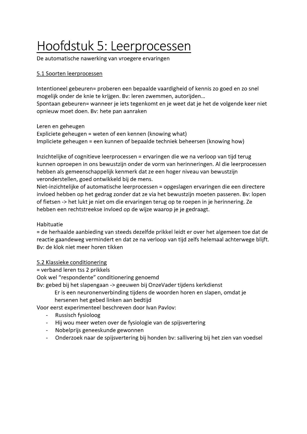 Algemene Psychologie H5 V3g301 Vives Studocu
