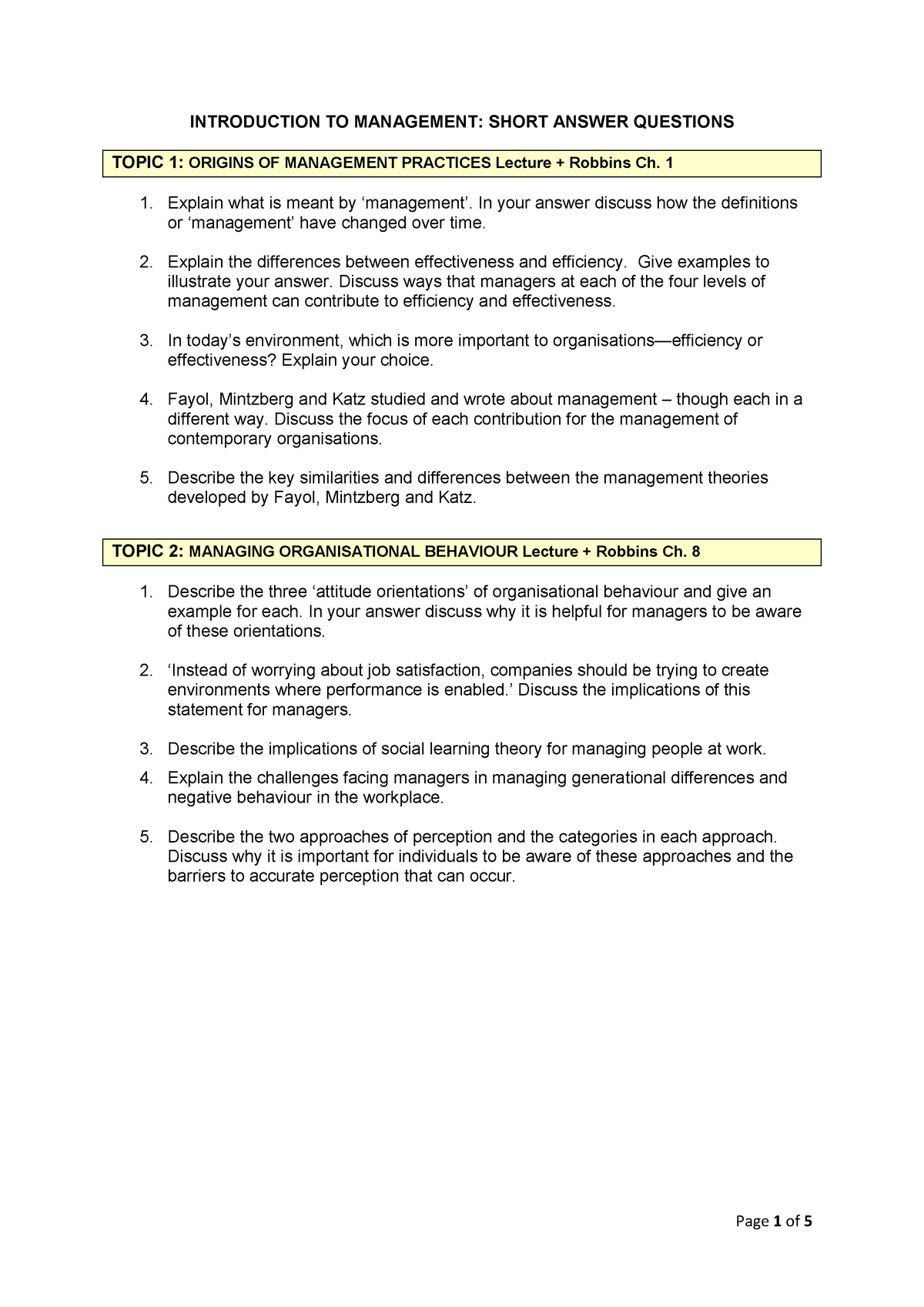 Possible Exam Questions 2016 Sem 1 Introduction To