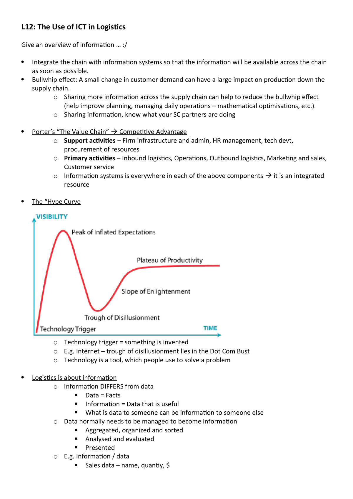 Lecture notes - The use of ICT in Logistics - Integrerad Logistik