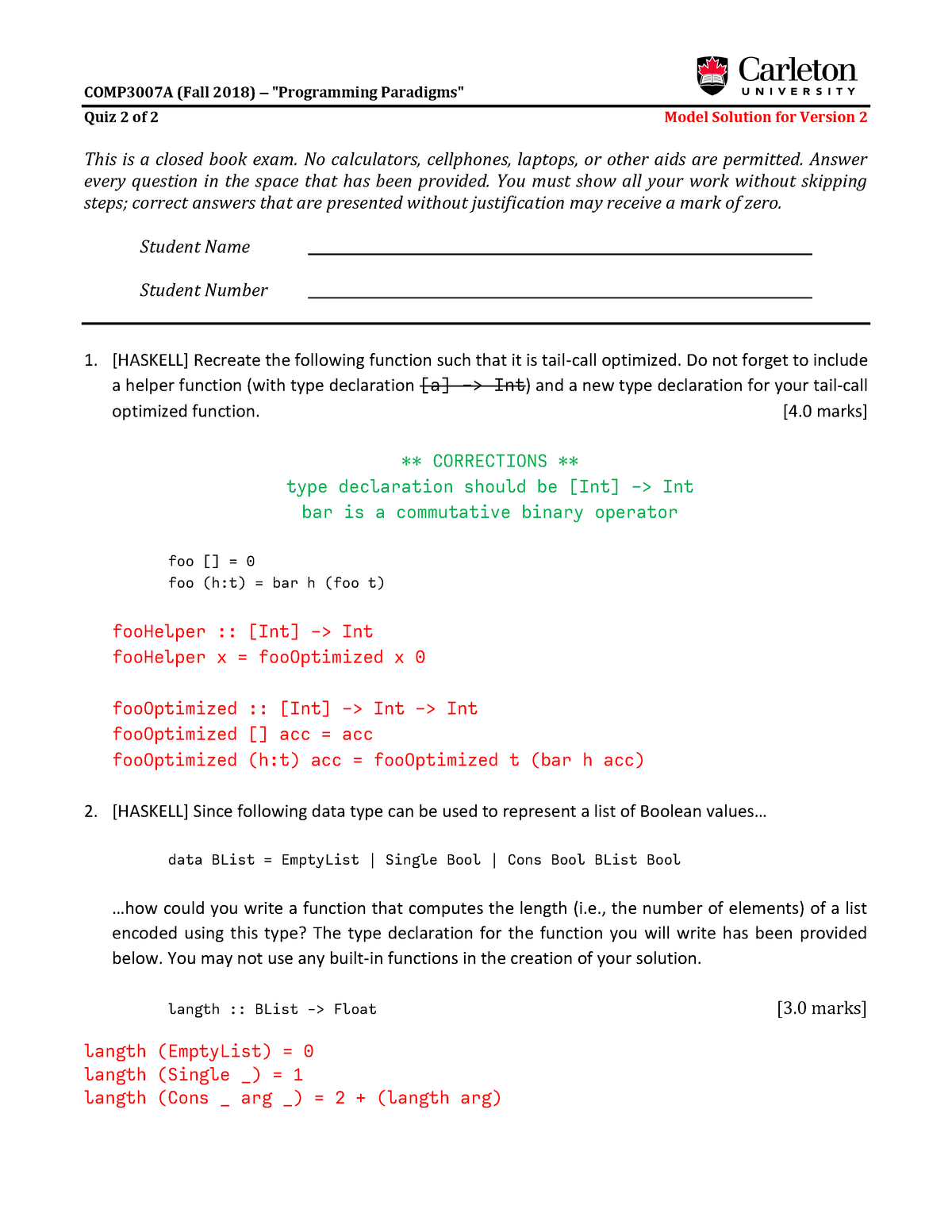 Model Solutions for Quiz 2 of 2 for COMP3007A - Version 2 - Comp