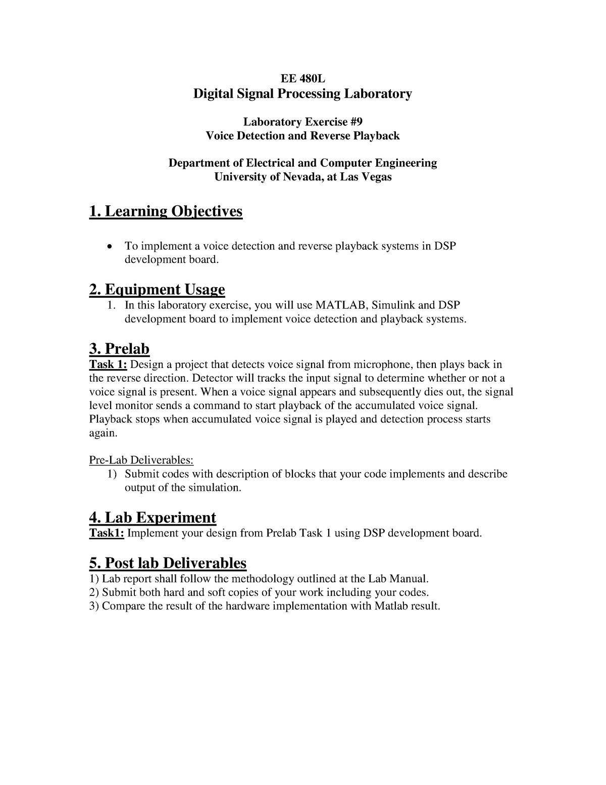 Tutorial work - 10 - EE 480L: Digital Signal Processing Laboratory