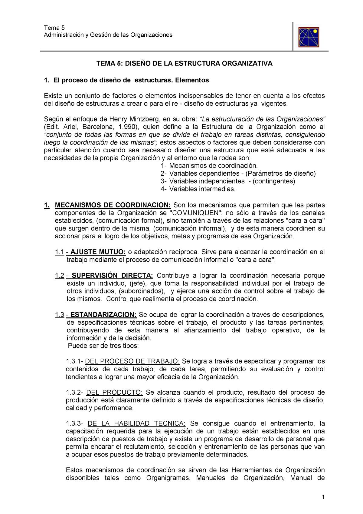 Tema 5 Diseño De La Estructura Organizativa Unne Studocu