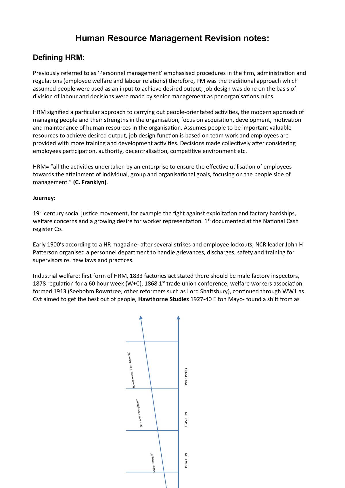 HRM Revision Notes  word - Human Resource Management I - StuDocu