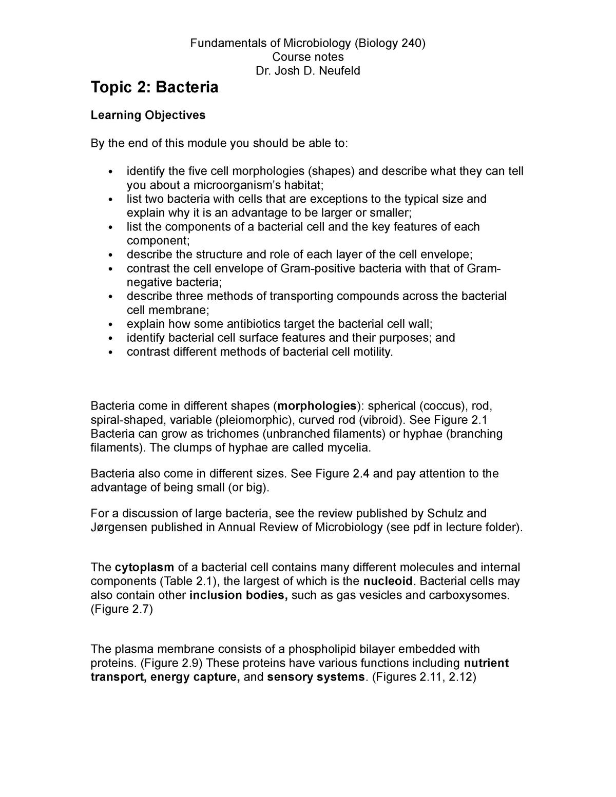 Topic 2 notes - Biol 240: Fundamentals of Microbiology - StuDocu