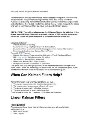 Reference paper for Kalman filter Tillämpad estimering Czerniaks