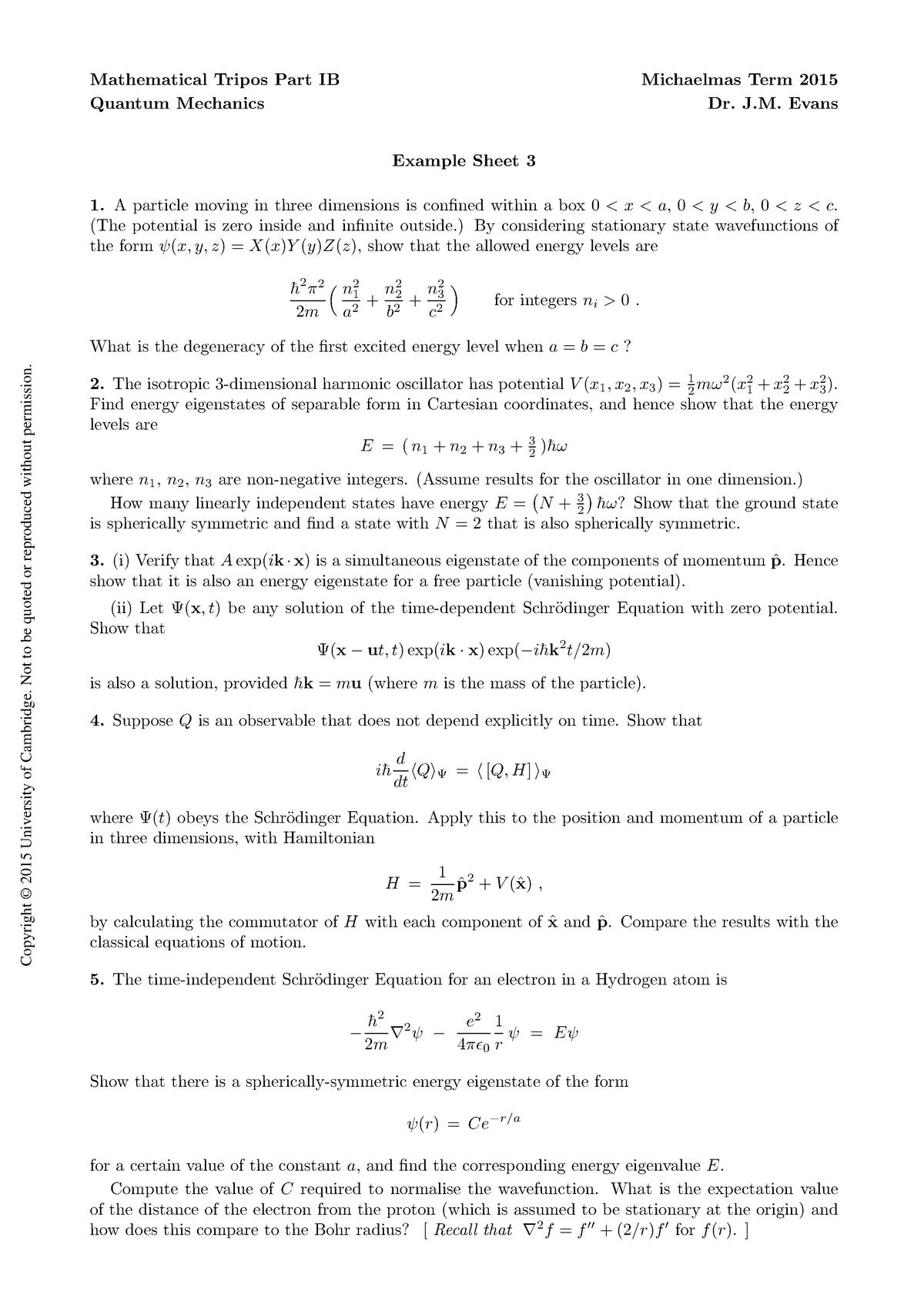 Tutorial work - 3 - Example sheet - B9: Quantum Mechanics - StuDocu