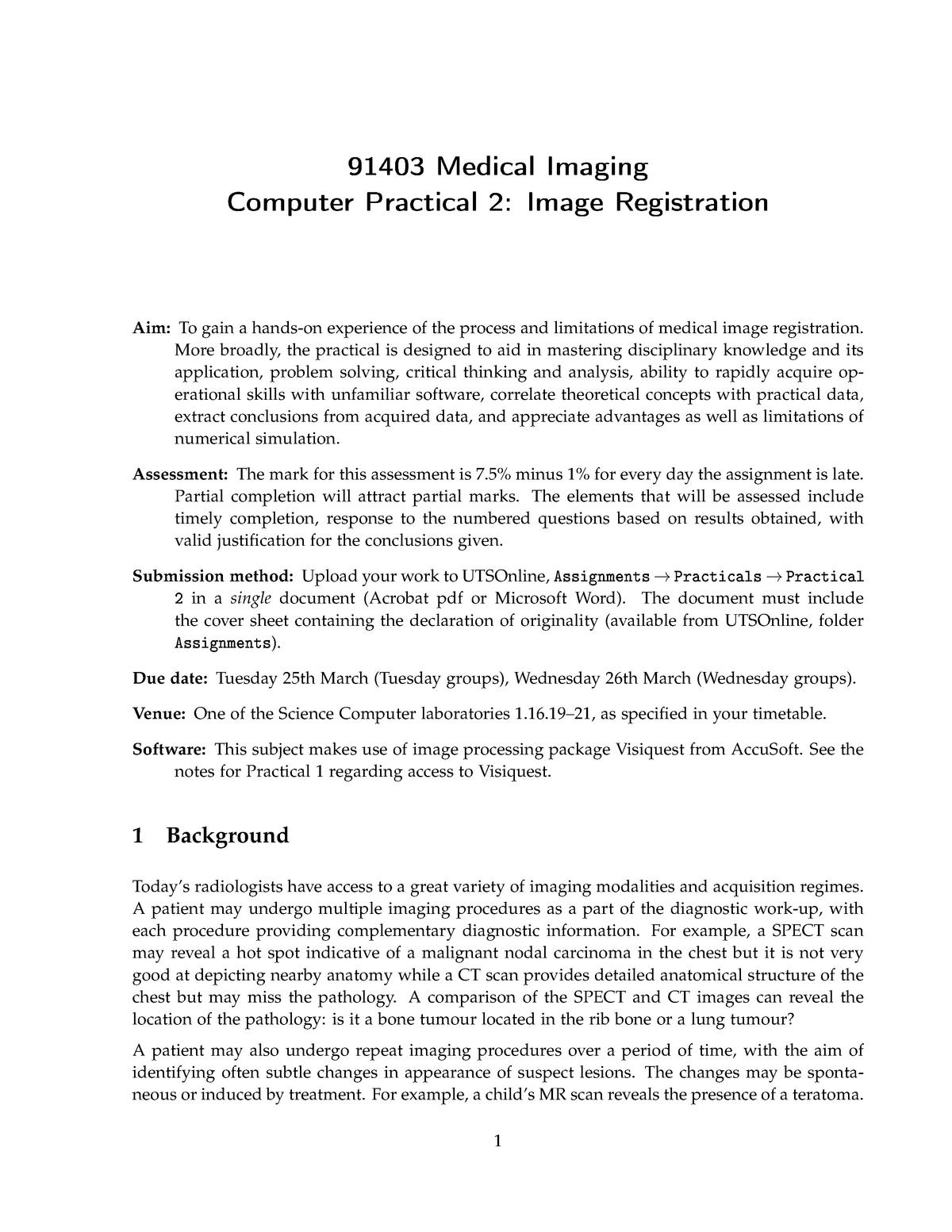 Image Registration practical 2 rulling - 091403 : Medical Imaging