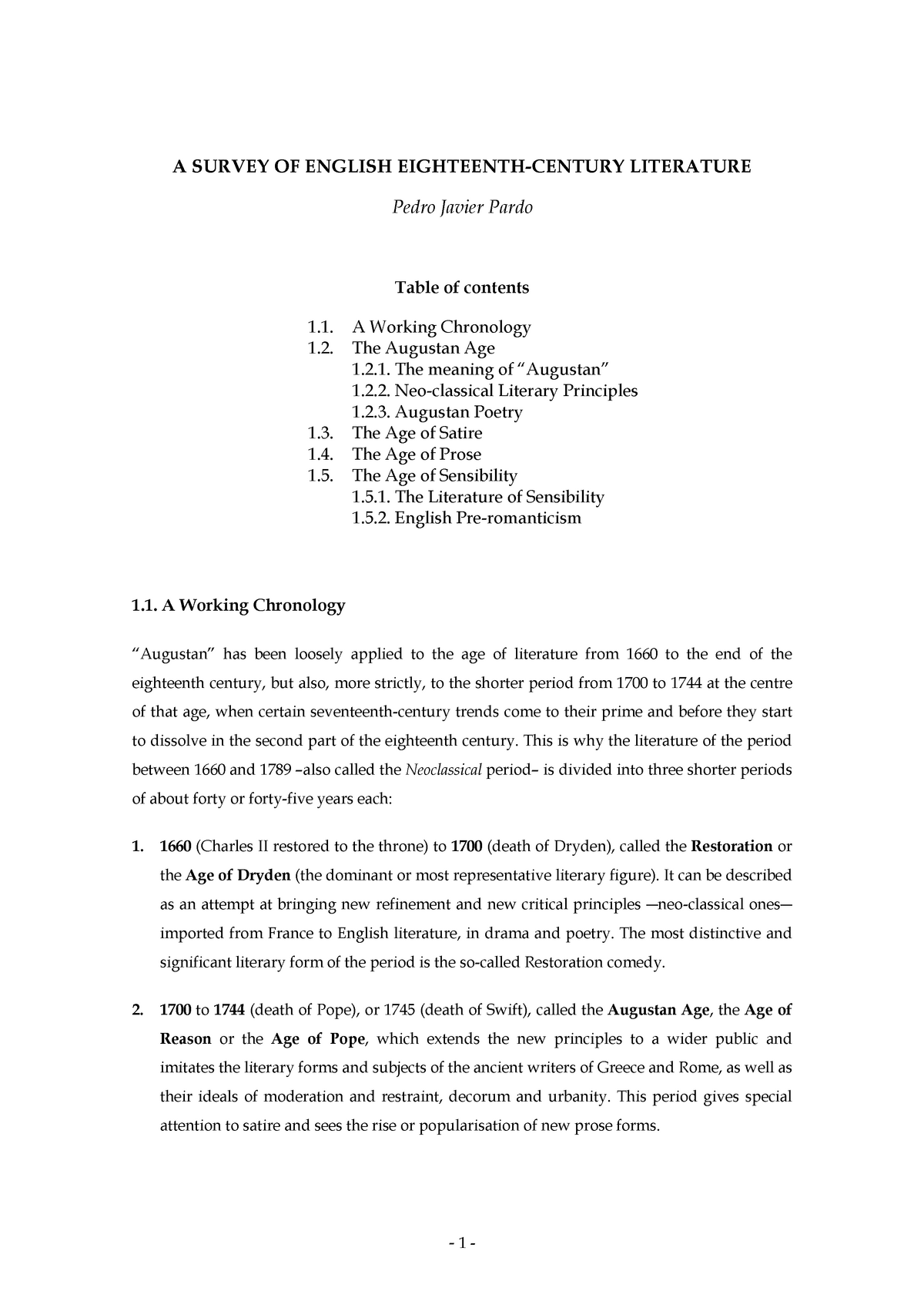 Notes A Survey Of English Eighteenth Century Literature Studocu