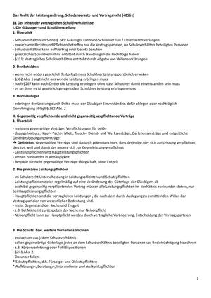 Zusammenfassung Ke1 Leistungsstörung Schadensersatz Und