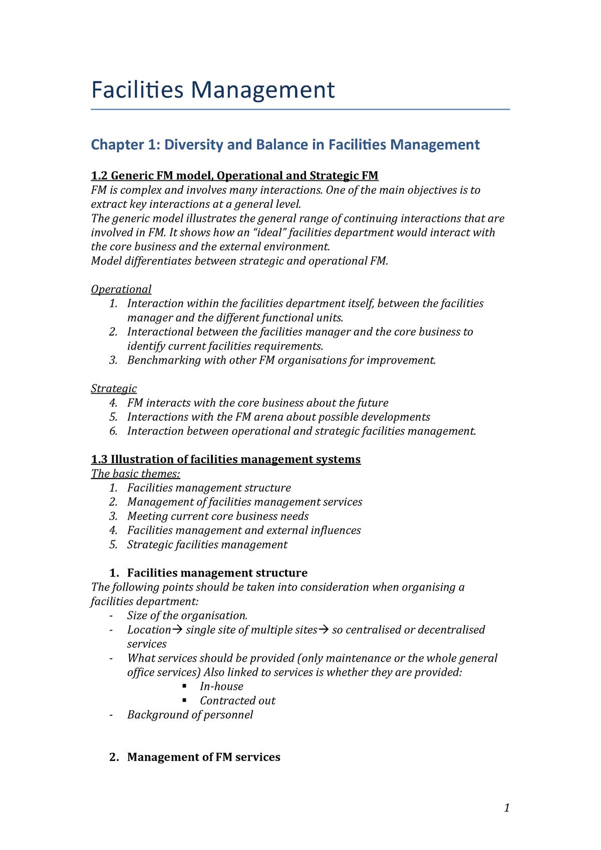 Facilities Management chp 1,3,4,9 - IFVP14WFM1ITF - StudeerSnel nl