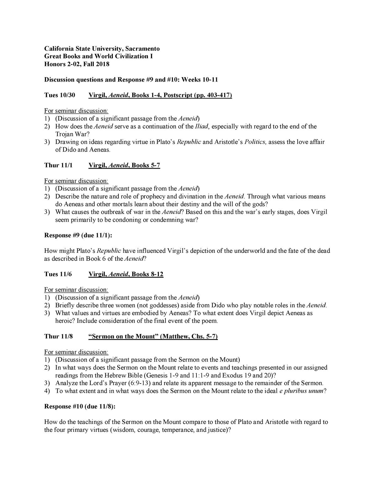 HONR2-02 Response 9, 10, Aeneid, Matthew - HONR 2: Great Books and