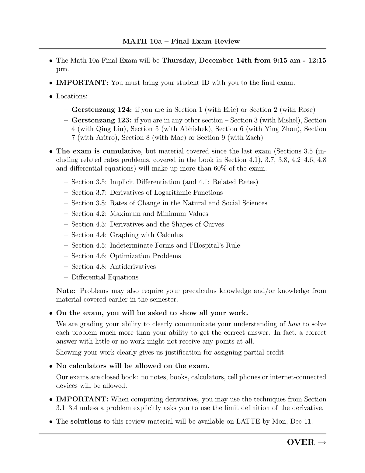 Exam 2017 - MATH 10A: Techniques Of Calculus (A) - StuDocu