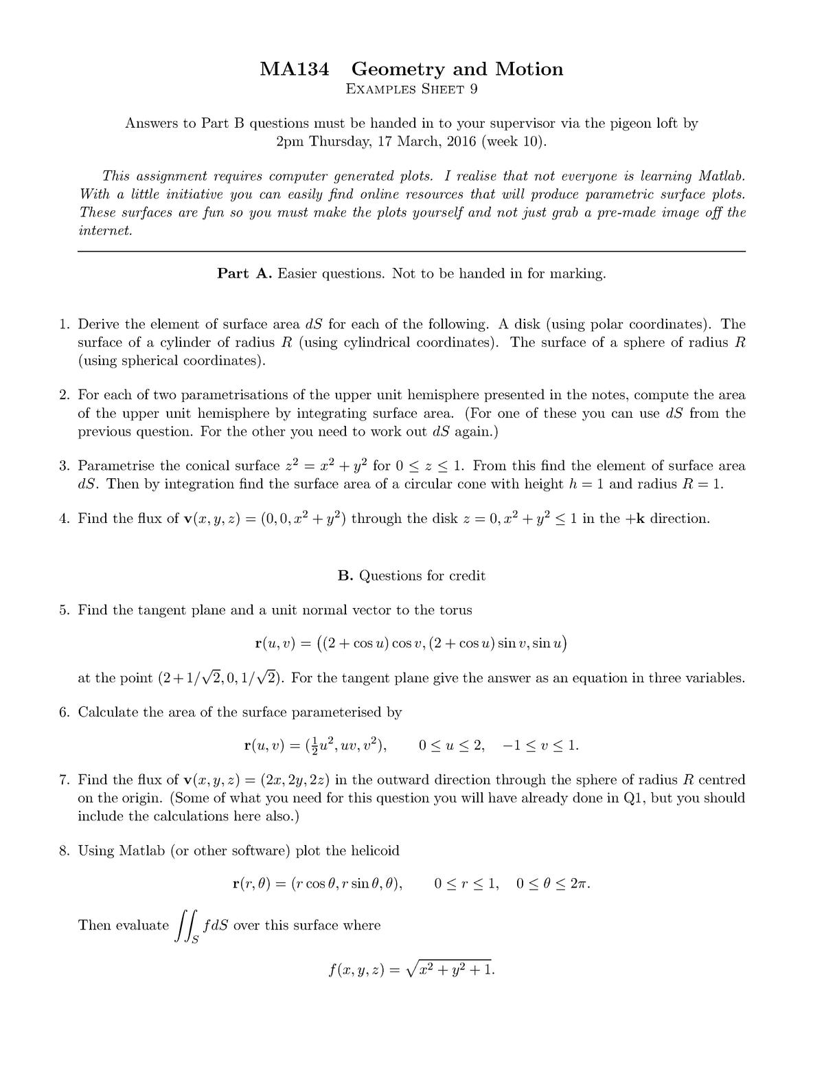 MA134 2015-2016 Problem Sheet 9 - MA134: Geometry and Motion - StuDocu