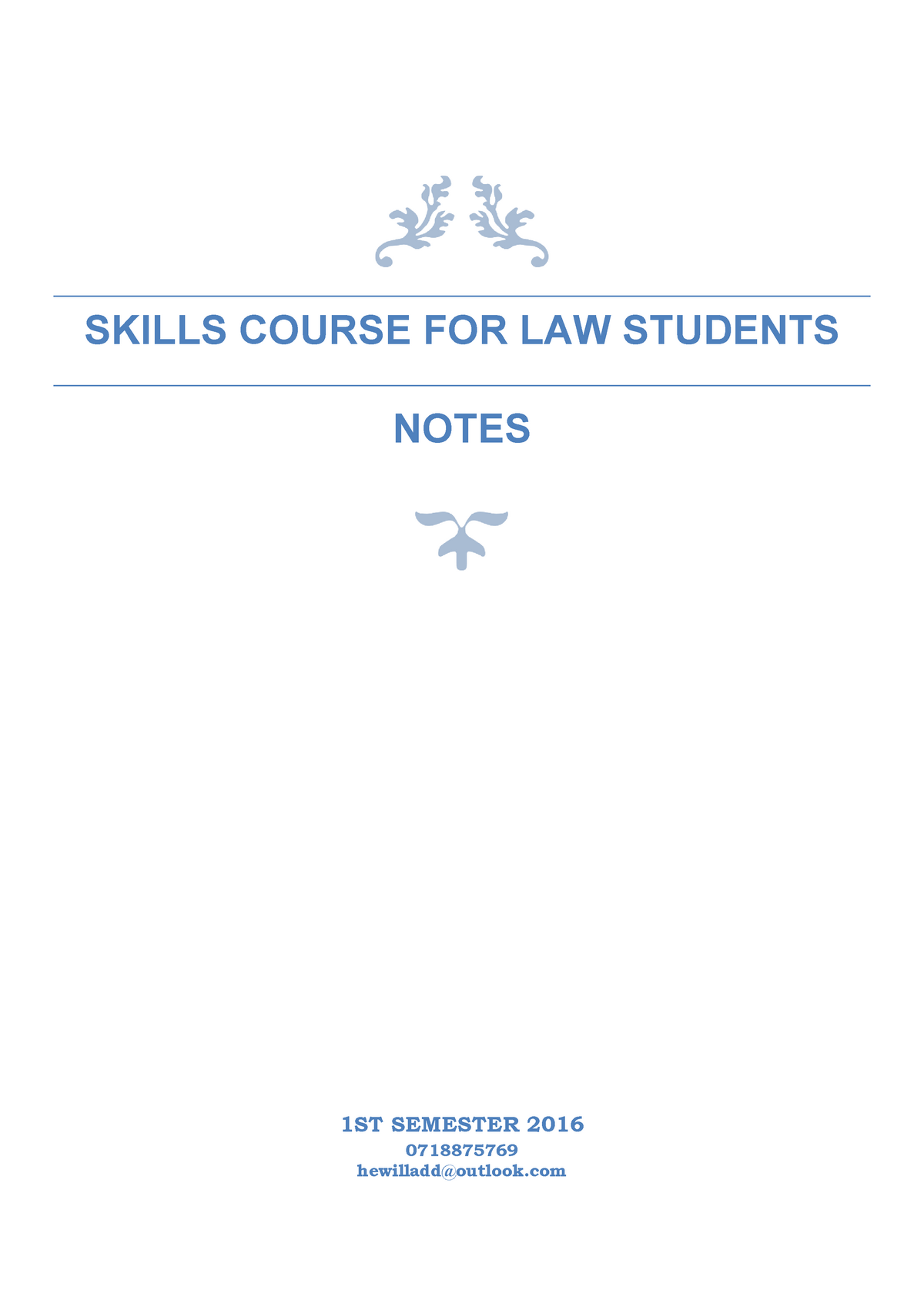 SCL1501 study notes - Skills Course for Law Students - StuDocu