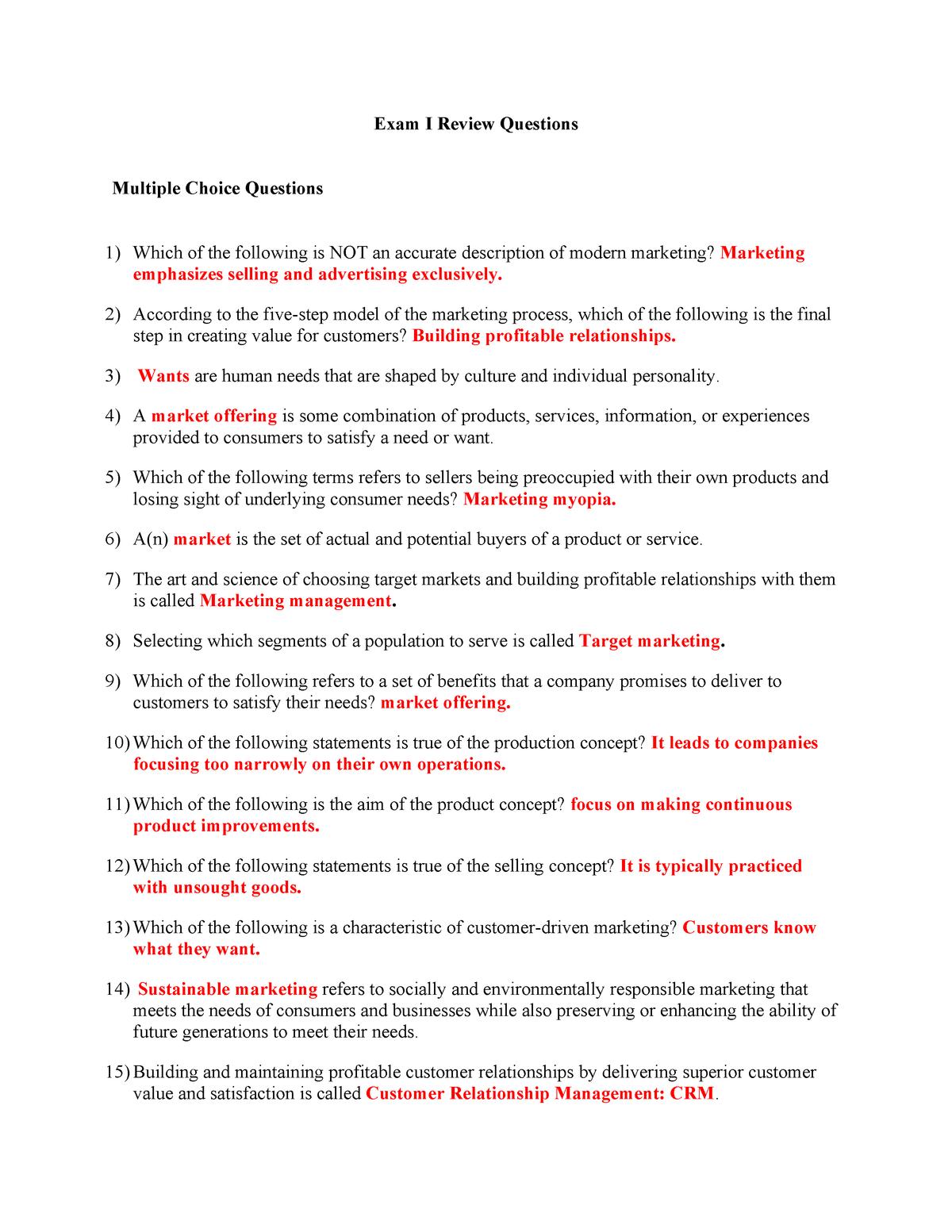 Exam 2018 - MBA 208: Marketing - StuDocu