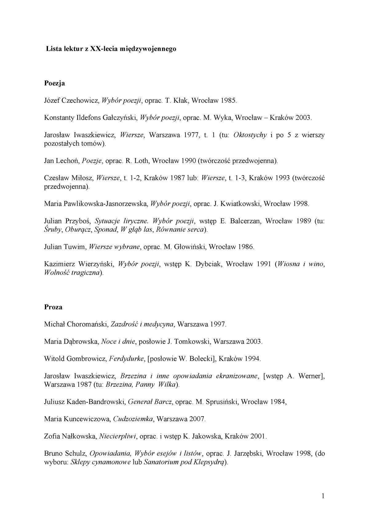 Lektury Dwudziestolecie Filologia Polska Filologia Polska