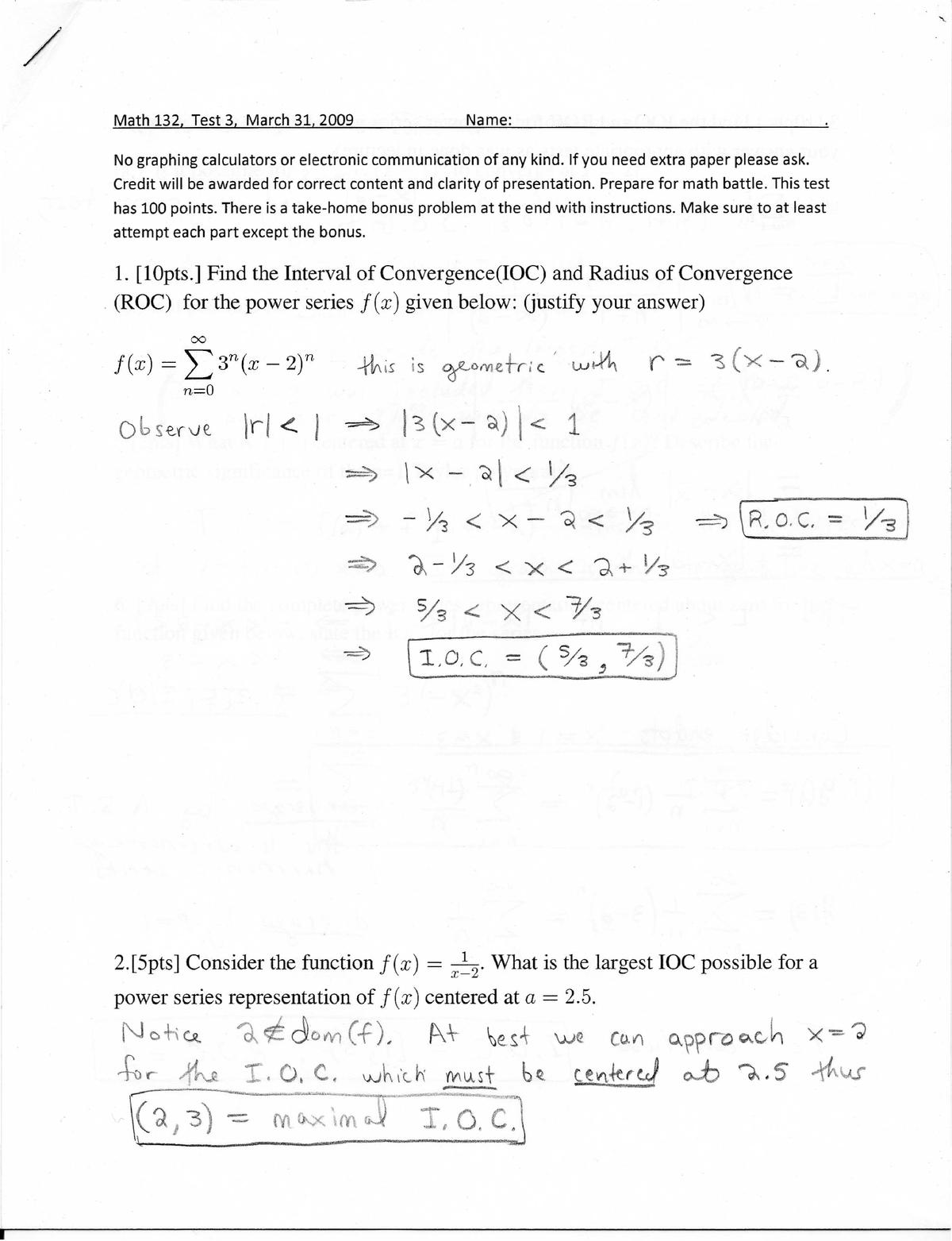 Exam 2009 - MATH 132: Calculus and Analytic Geometry II