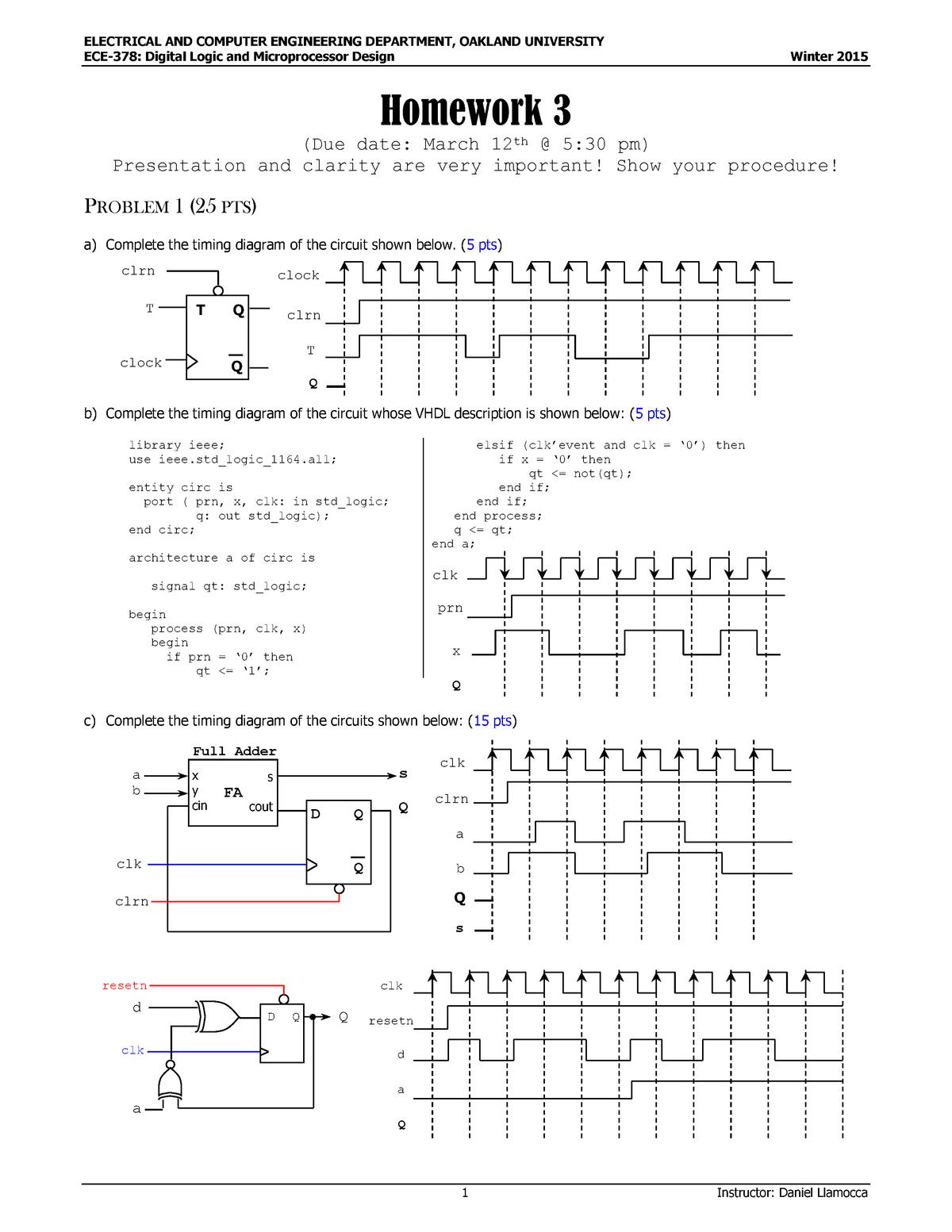 HW3, q + a - Homework assignment 3 - ECE 378: Digital Logic