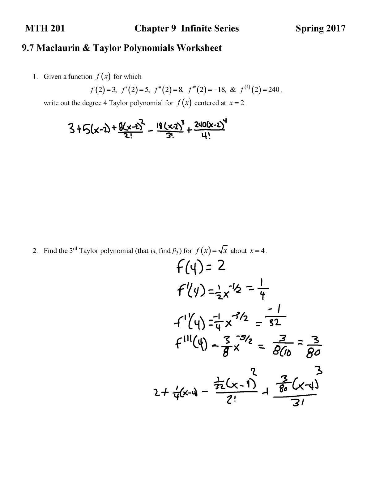 9 7 Maclaurin Taylor Polynomials Worksheet - MTH 201 - StuDocu