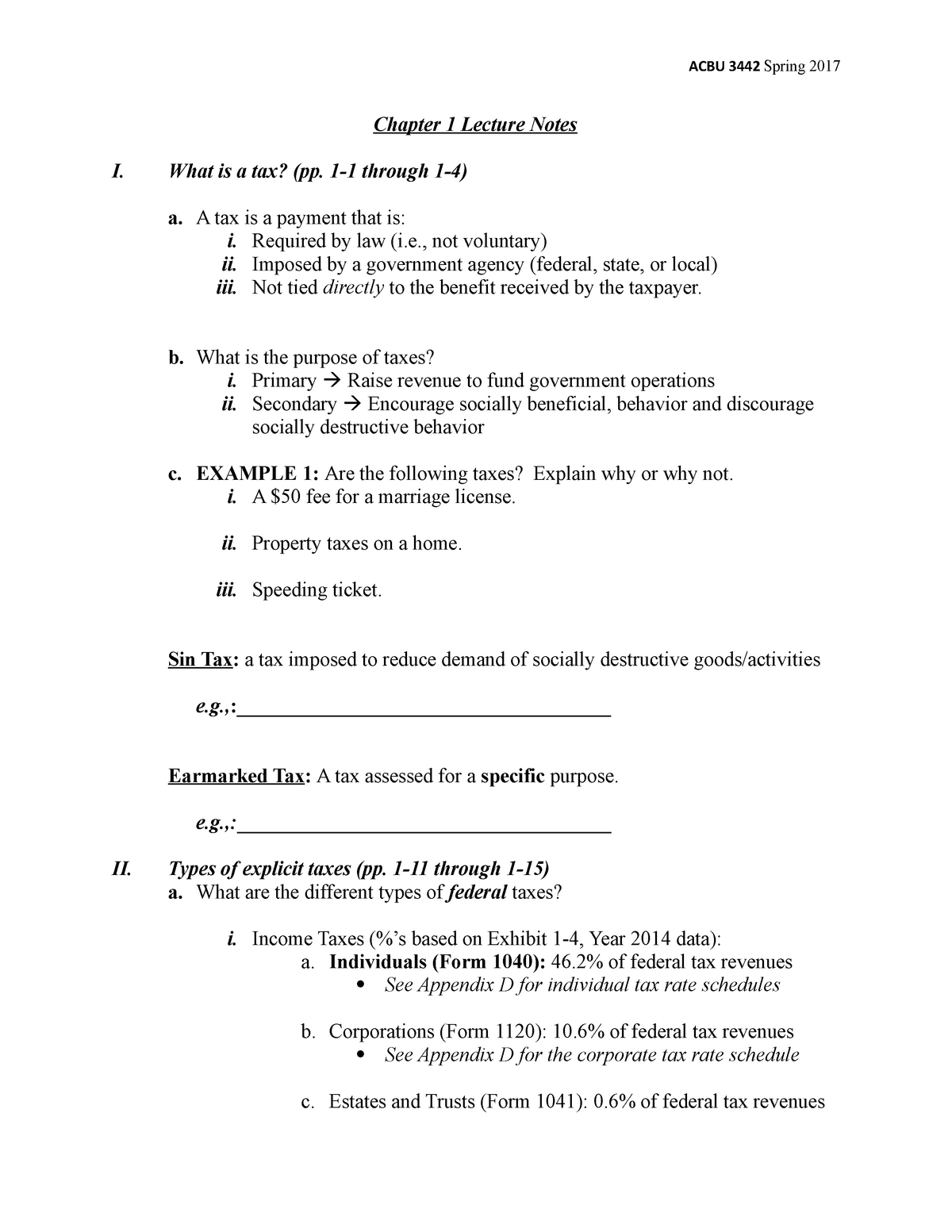 Chapter 1 Student Notes - ACBU 3442: Indvdl & Business