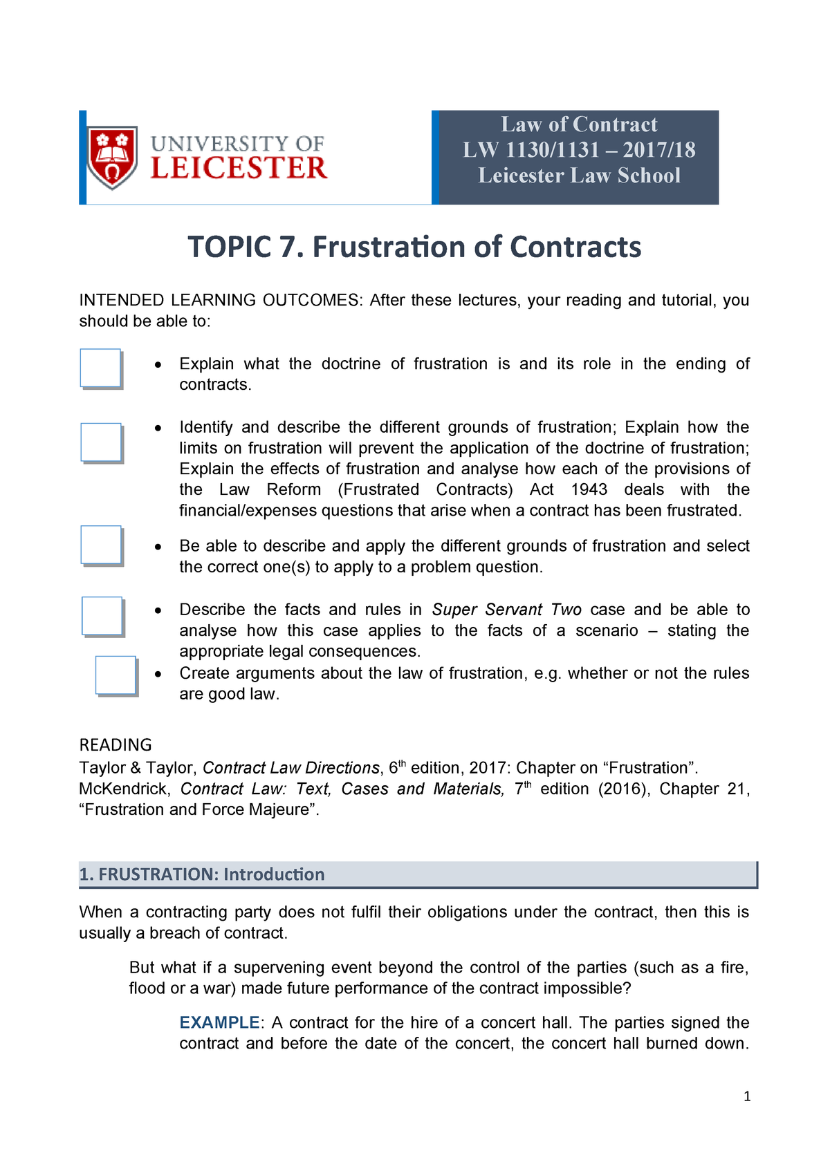Contract Law 2018 Frustration Handout - LW1130 - Leicester