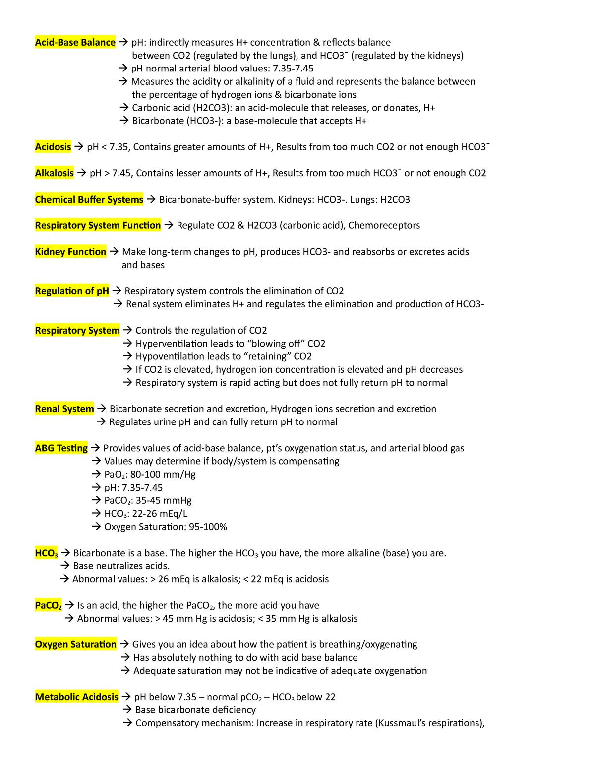 Patho Acid-Base & Fluids - NUR3130 Foundations - NSU - StuDocu