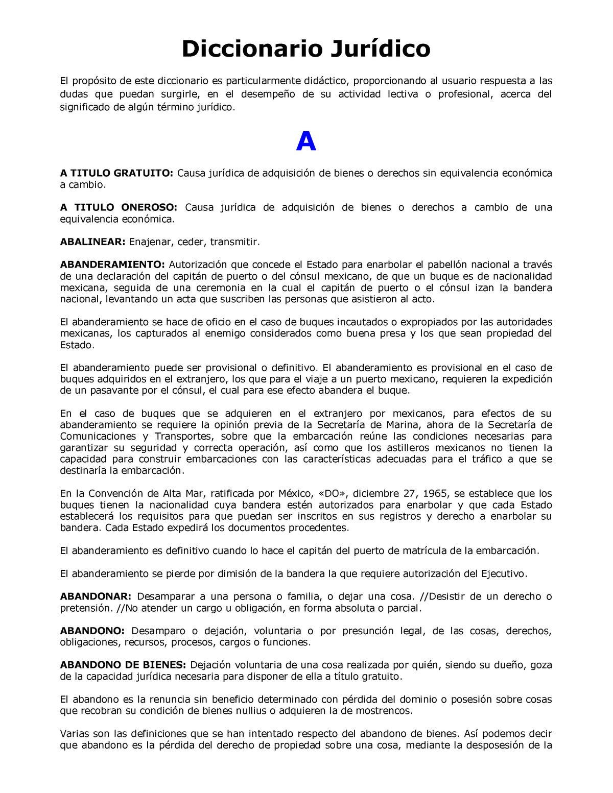 Diccionario Jurídico Apuntes Terminos Juridicos Unp