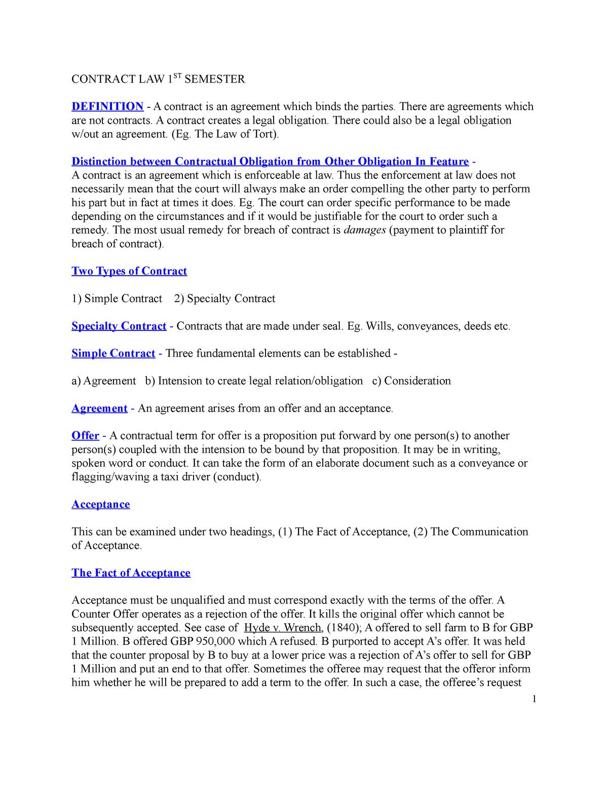 Contract Law - 1st Semester - BLAW 211 - StuDocu