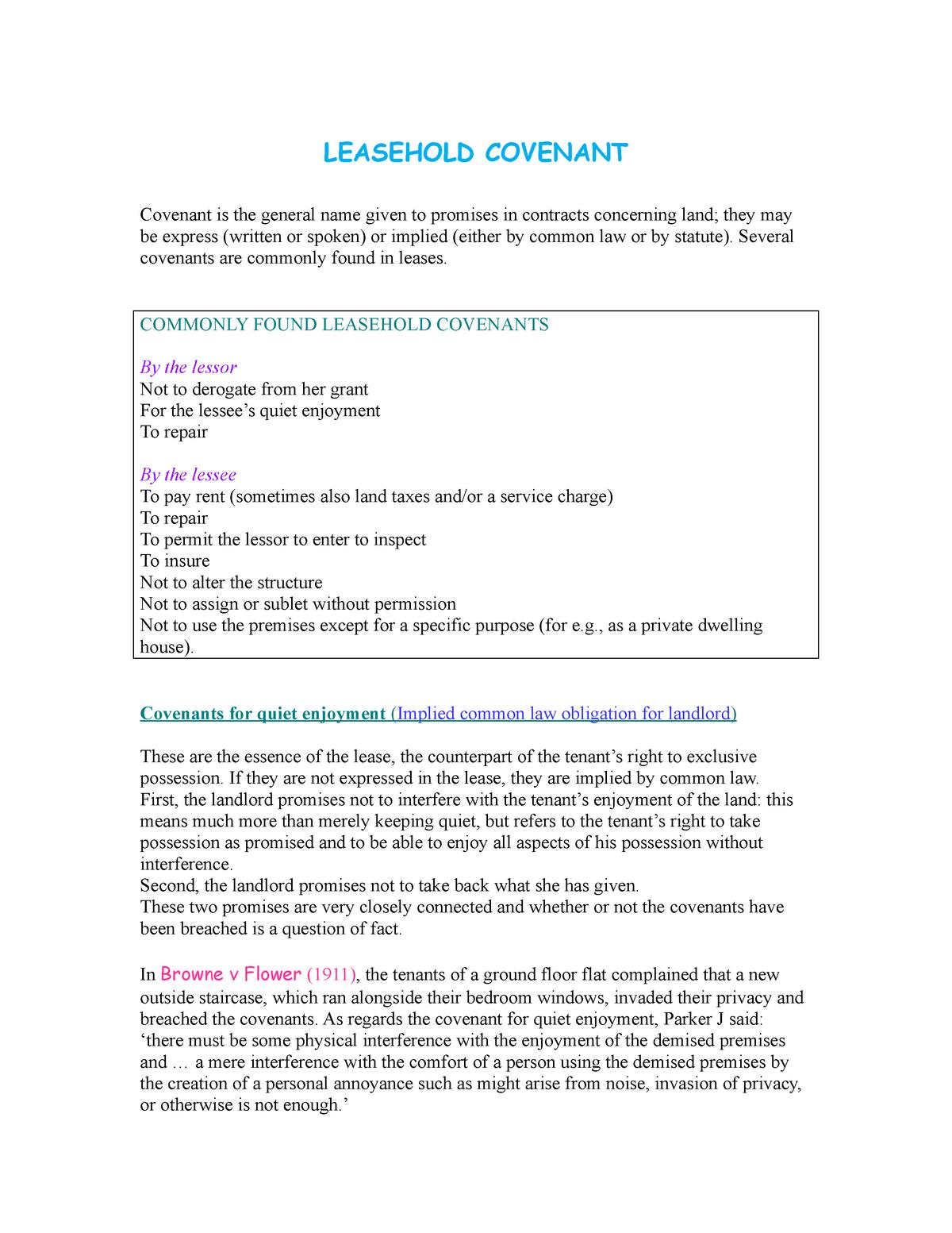 Leasehold Covenant - i - LA0638: Land Law [FT Law Plus
