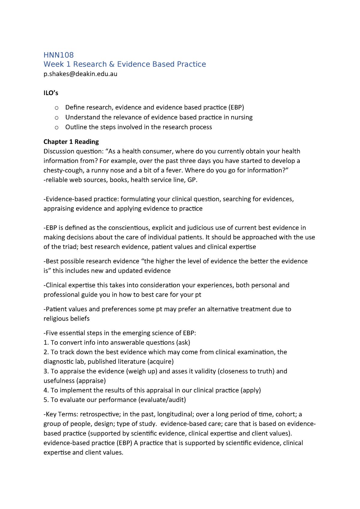 HNN108 Notes - Understanding Research Evidence - Deakin