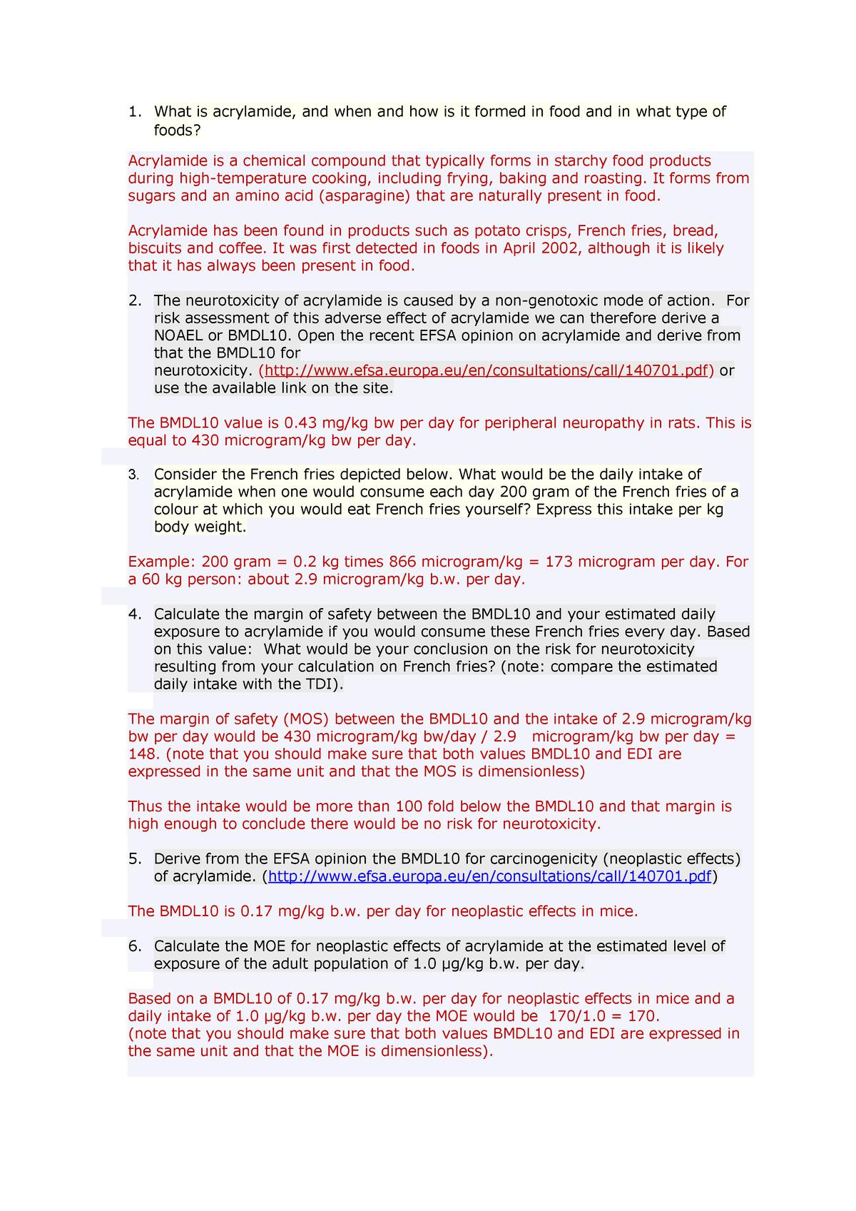 Verplichte opgaven - Risk assessment opdracht - acrylamide - TOX