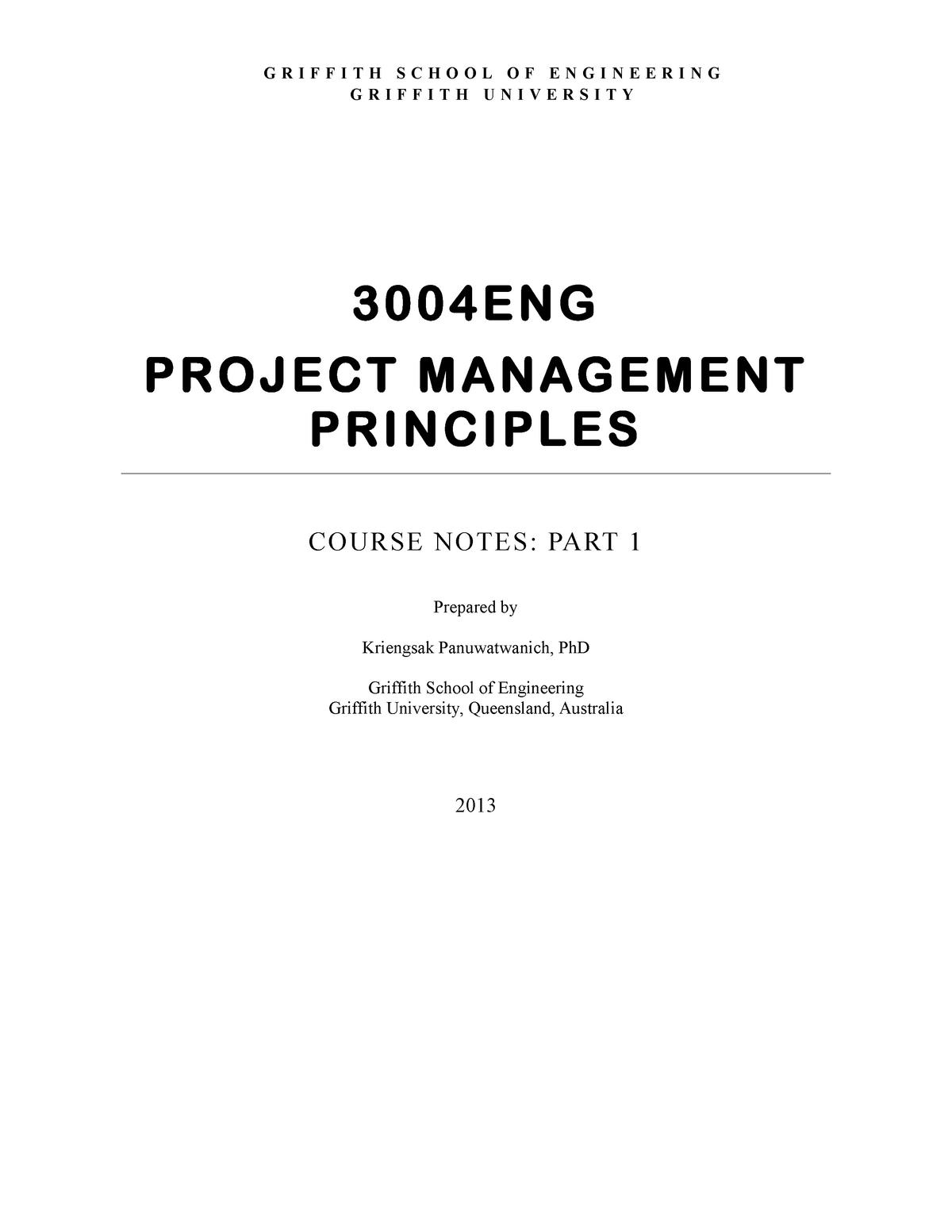 Lecture notes - project management principles course notes