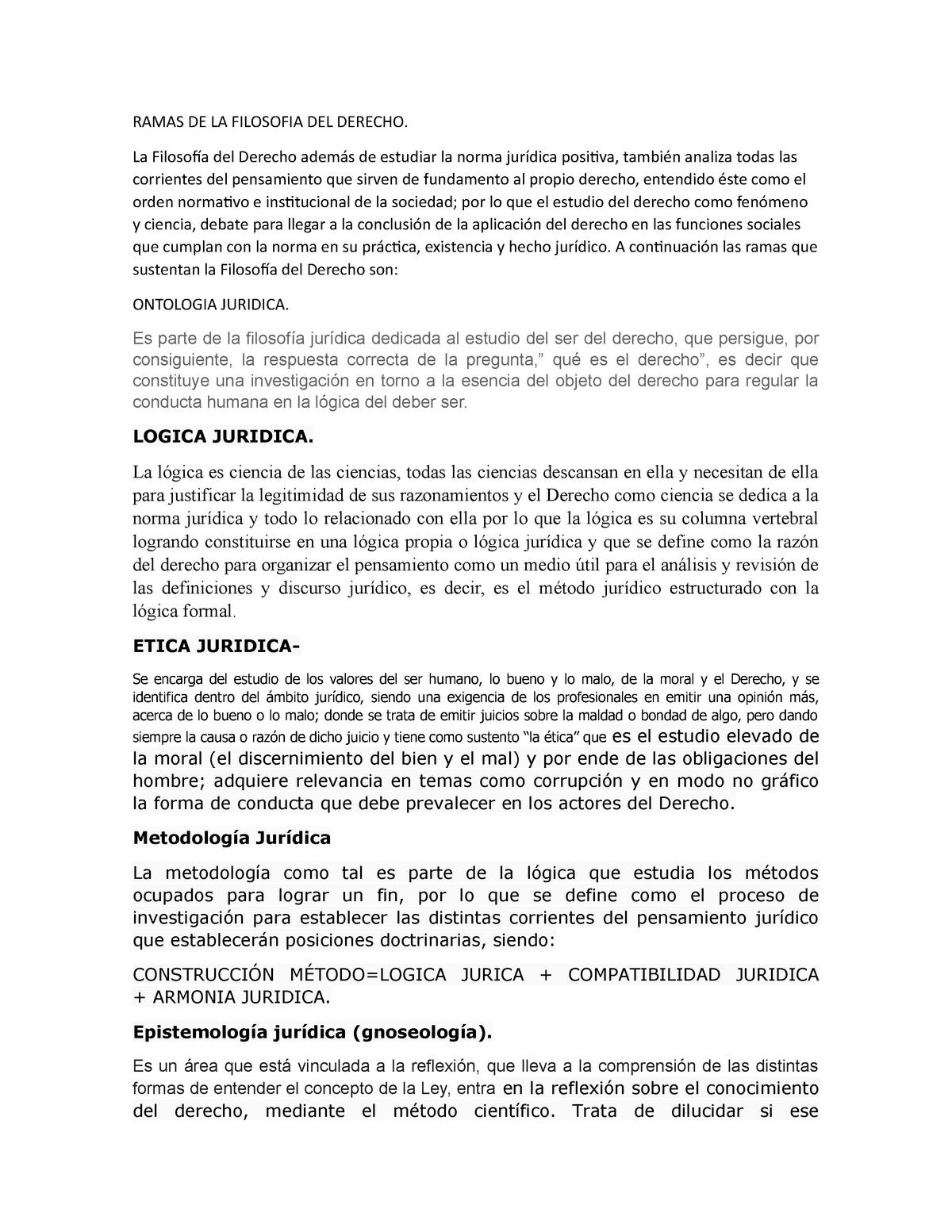 Ramas De La Filosofia Del Derecho 3 Studocu
