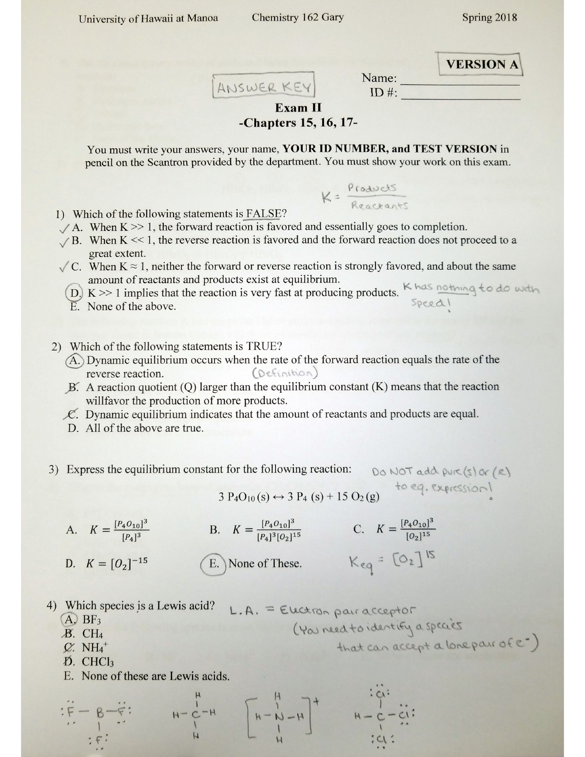 Chem 162 Exam 2 Version A, answers - CHEM162 - UH Manoa