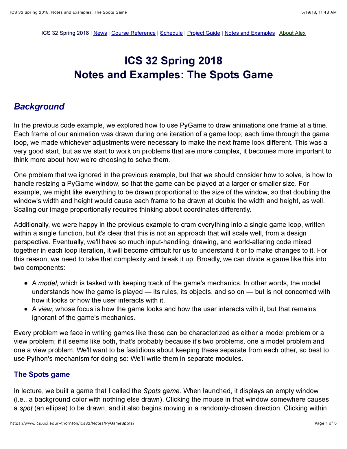 ICS 32 Spring 2018 , Notes and Examples: The Spots Game - ICS 32
