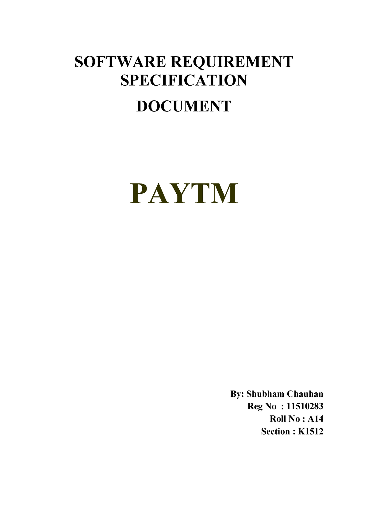 Paytm - software requirement specification srs - CSE 320