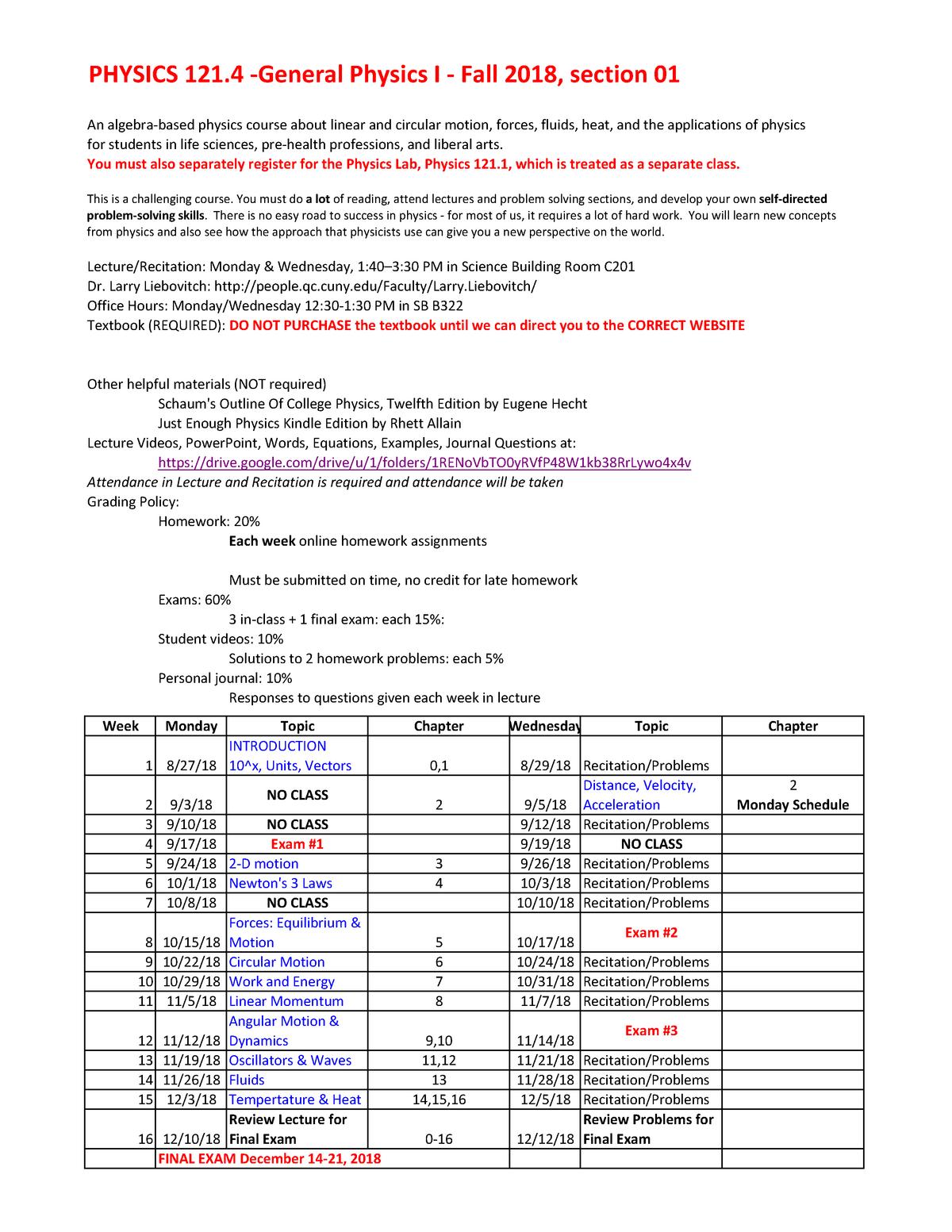 Syllabus-PH1214-Fall2018 - PHYS 1214 General Physics I - StuDocu