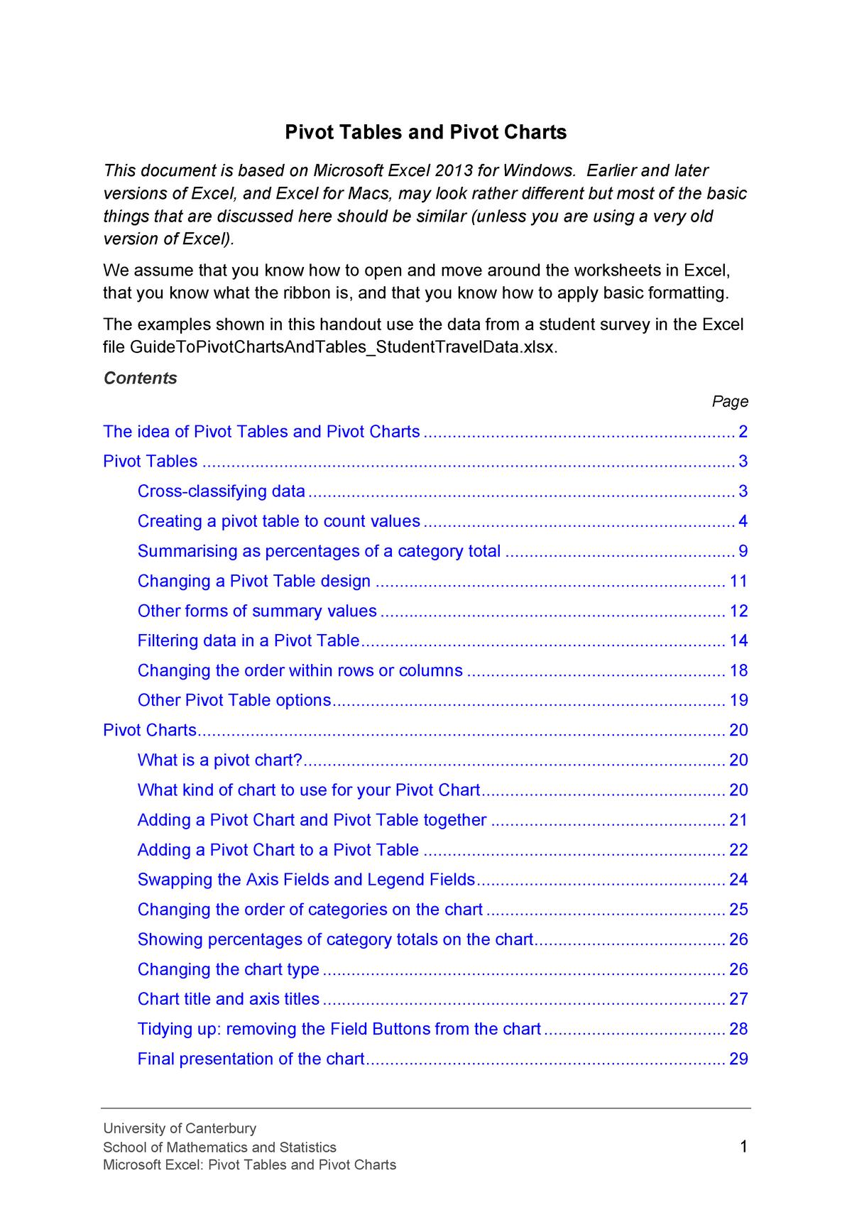 Excel Handout Pivot Tables And Pivot Charts 2013 - STAT101 - StuDocu