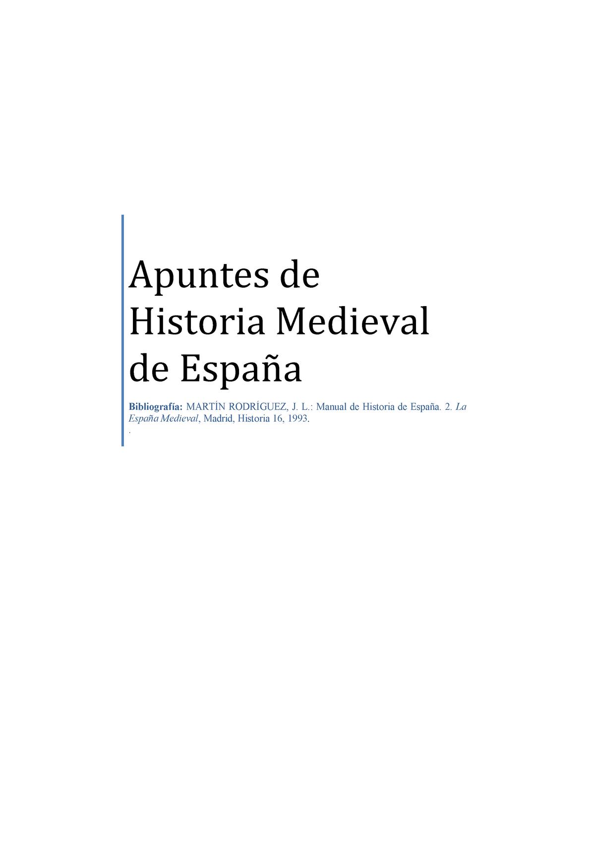 Apuntes De Historia Medieval De Espana Manual J L Martin