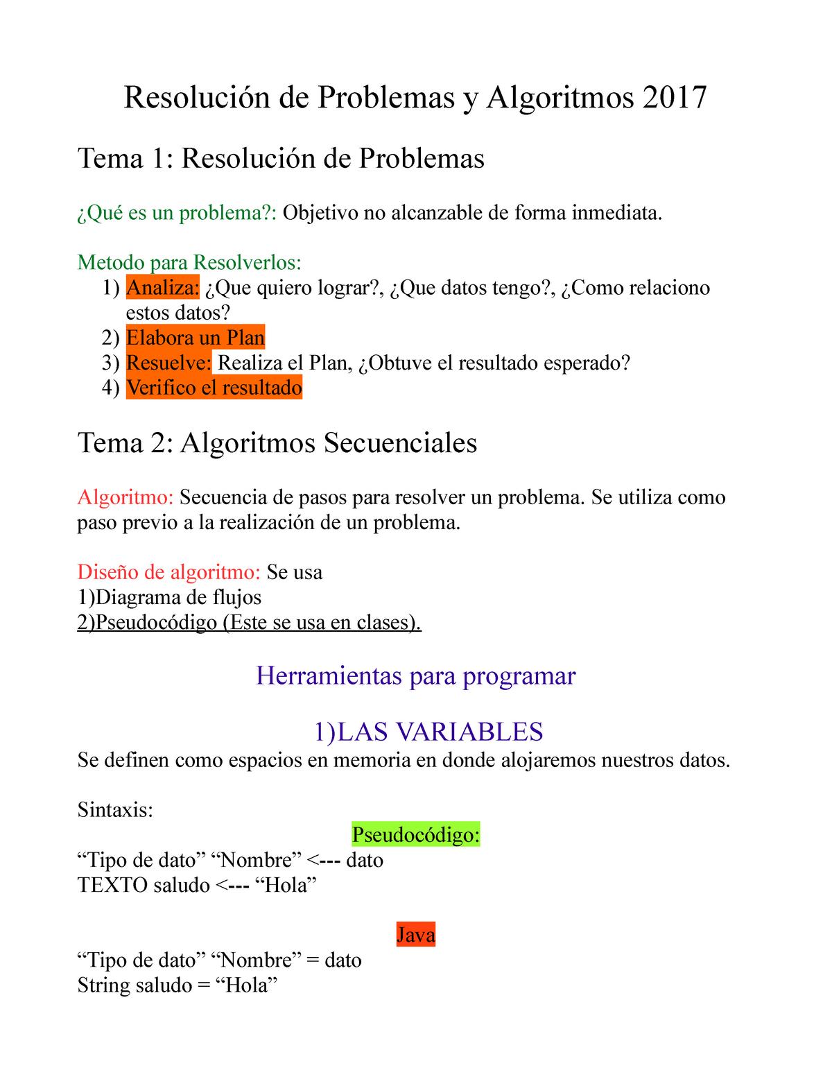 Resumen Rpa 2017 Resolución De Problemas Y Algoritmos