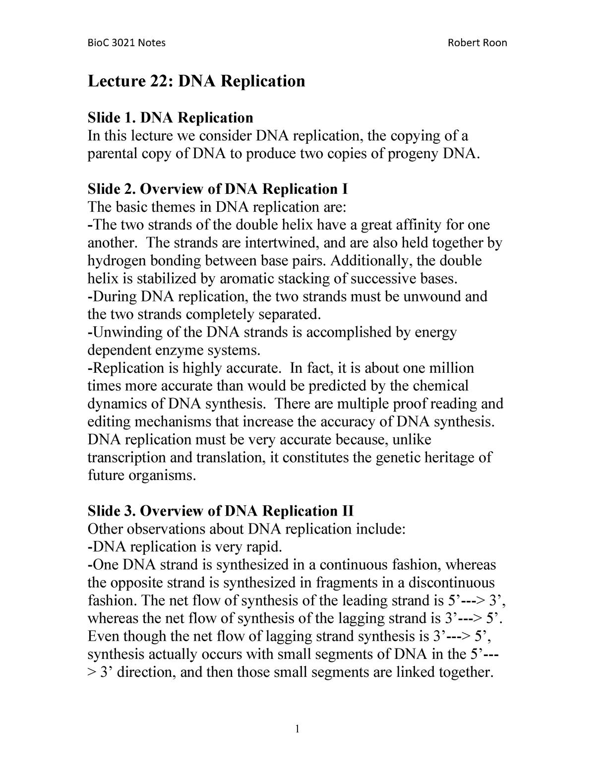 Lecture 22 DNA Replication - BIOC 3021: Biochemistry - StuDocu
