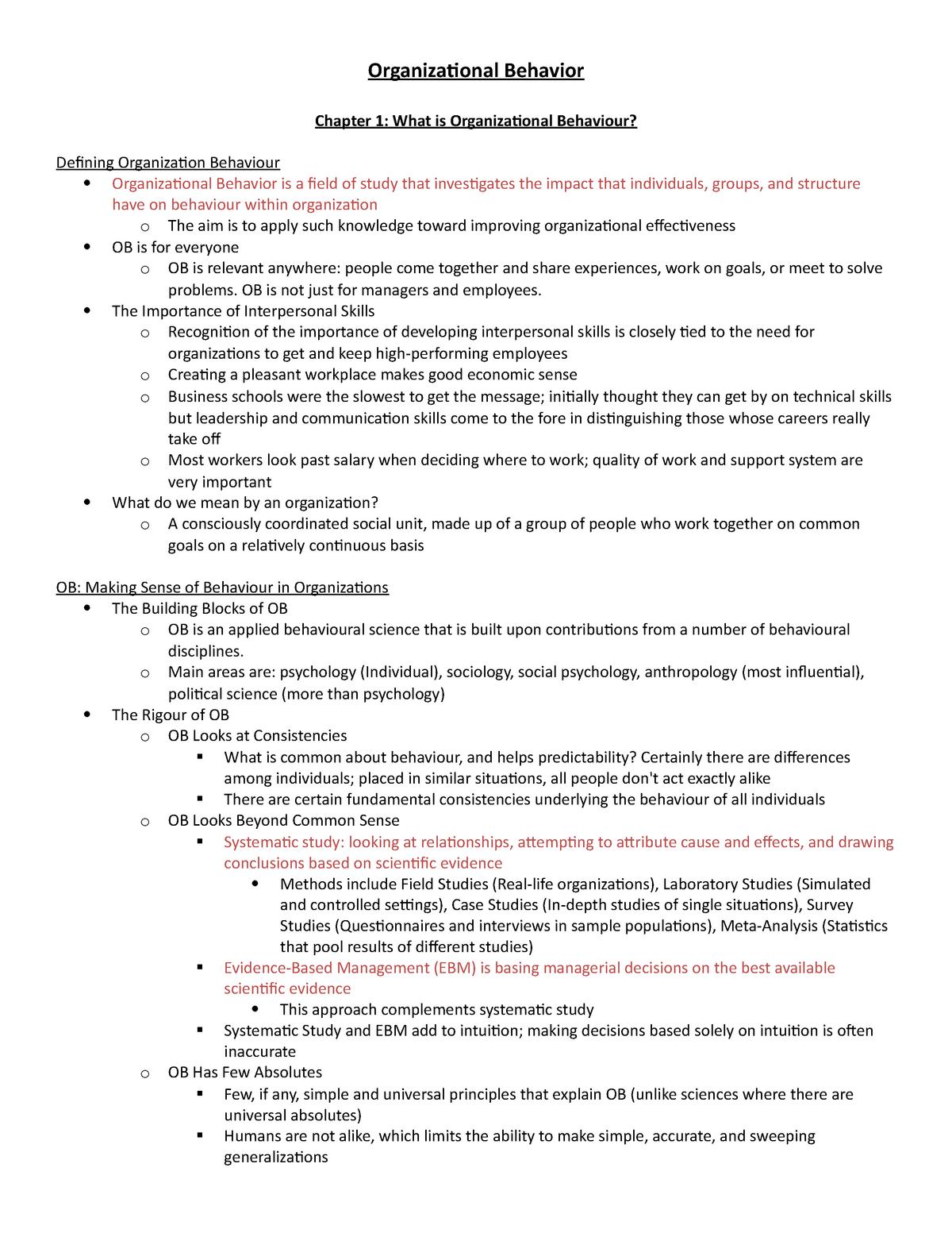 Chapter-Notes - Msci 211 Organizational Behaviour - StuDocu