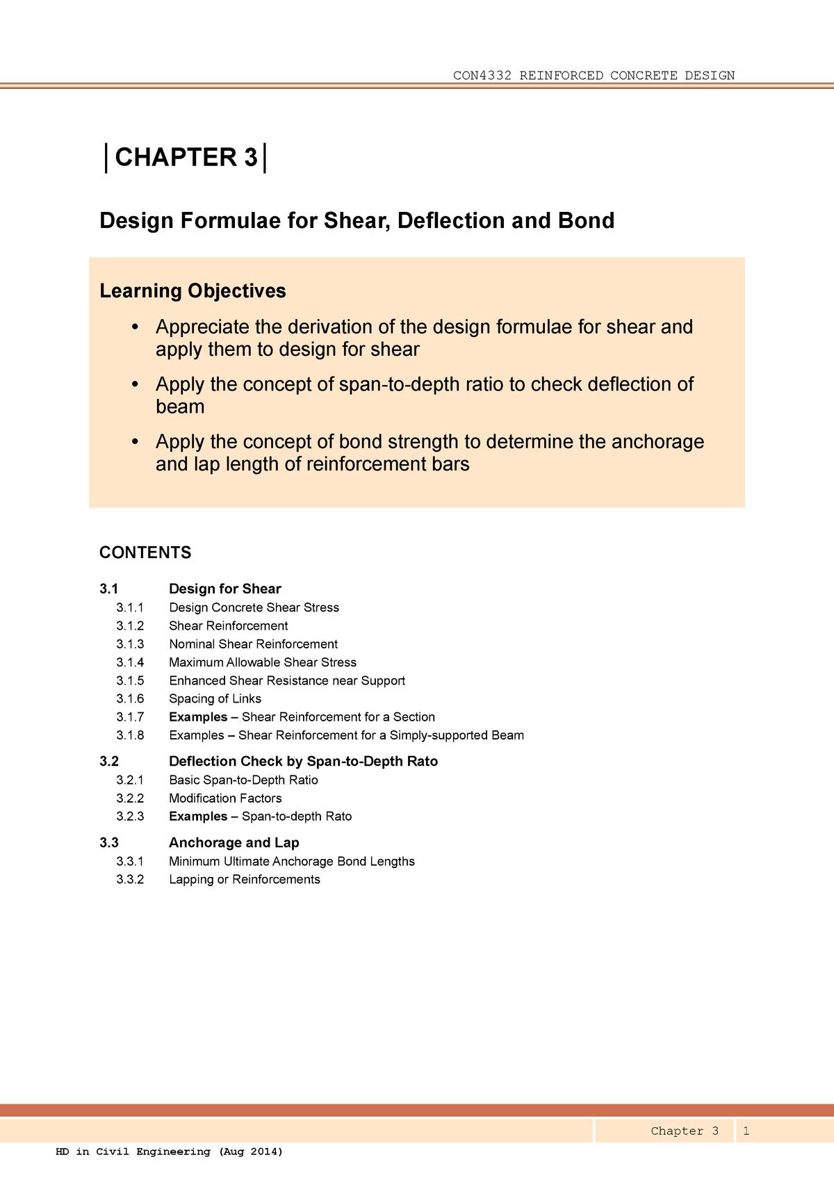 R3 Design Formulae for Shear Deflection Bond (2014-08-01