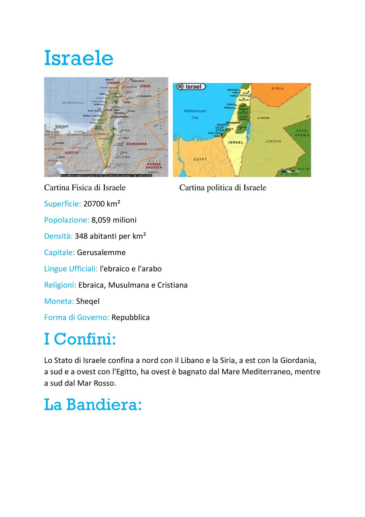 Cartina Israele Giordania.Israele Tesina Gingy Studocu