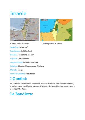 Stato Di Israele Cartina Fisica.Israele Tesina Gingy Studocu