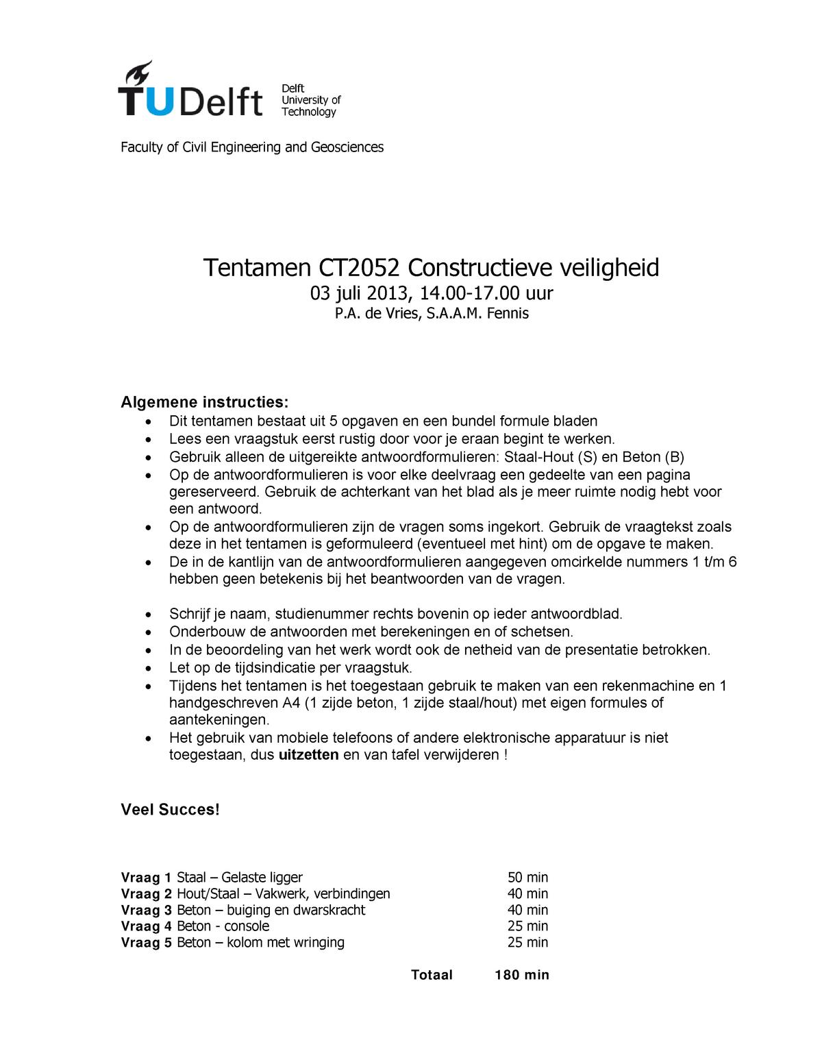 Tentamen 3 Juli 2013 Vragen Beton Staalconstructies