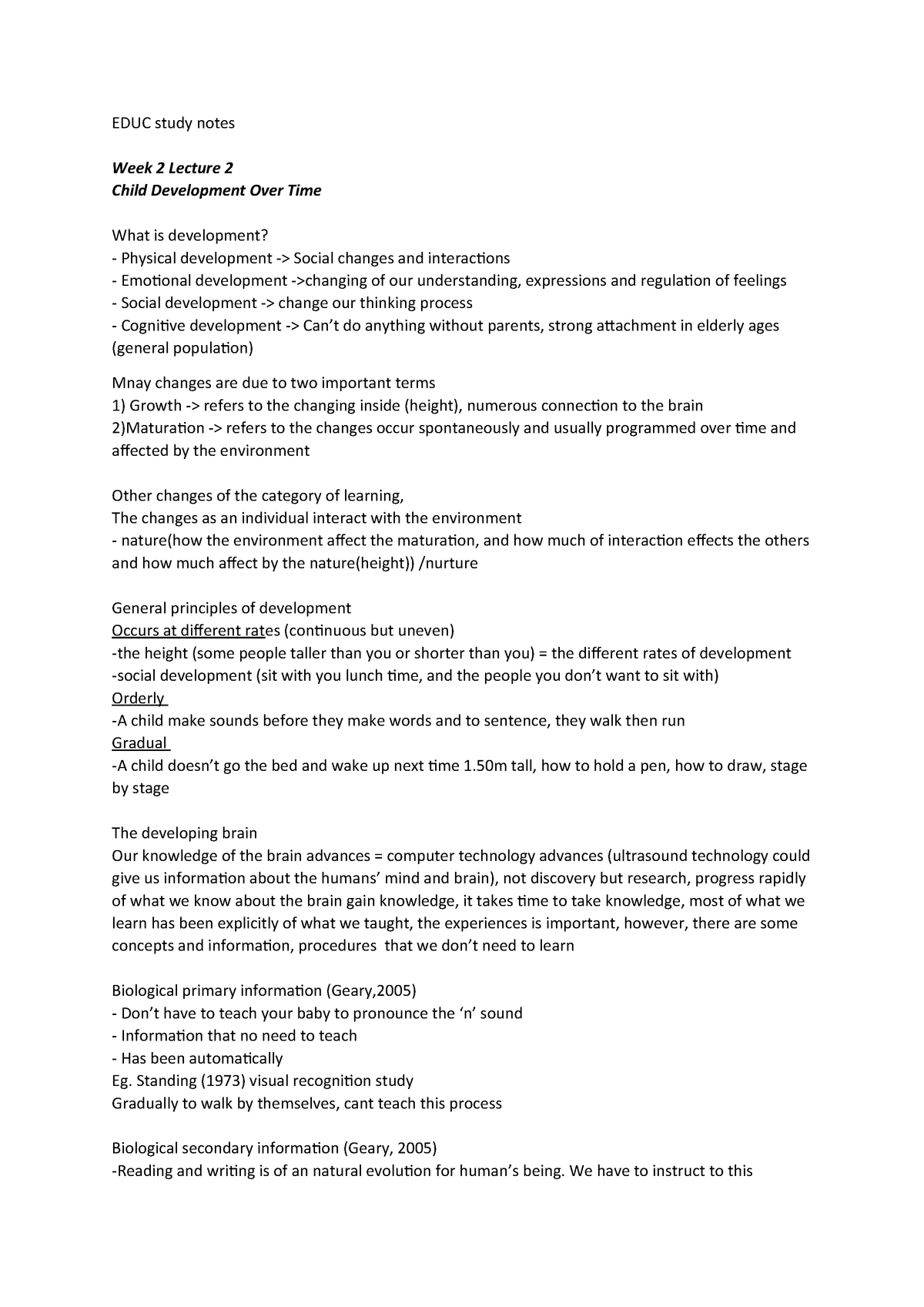Lecture notes, lectures 1-10 - Dr  wayne - EDUC105 - MQ