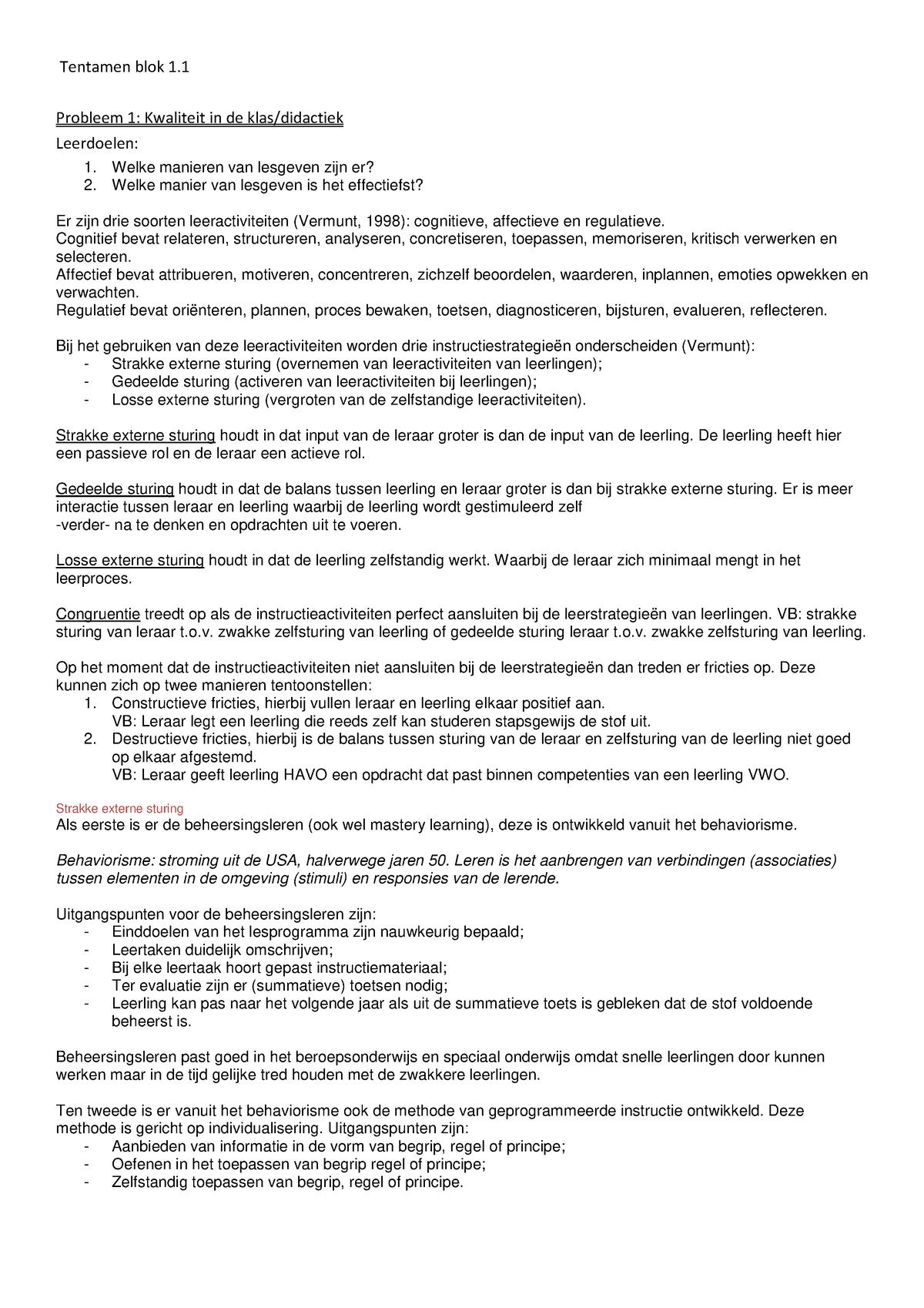 Samenvatting Inleiding In De Onderwijswetenschappen