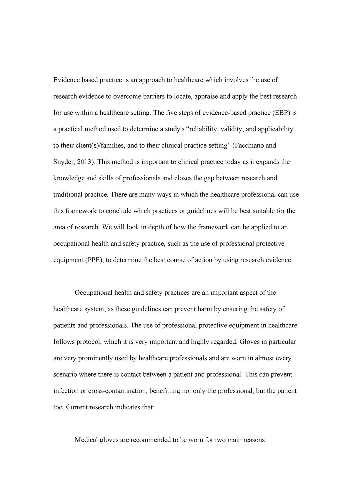 HLSC122 Assessment 1 - evidence-based practice - ACU - StuDocu