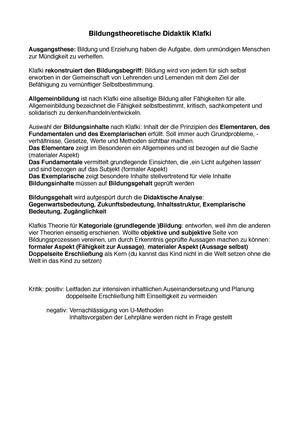 Zusammenfassung Bildungstheoretische Didaktik Klafki.pdf ...